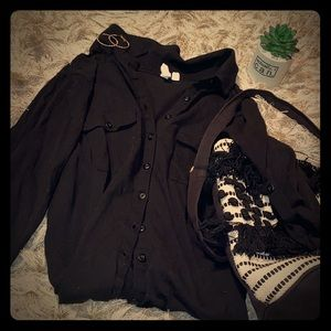 Black Button Up Shirt with Quarter Sleeves